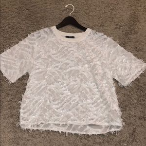 NEVER WORN - SHEIN boxy feathered top